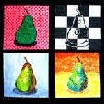 Klas 2Hva maakte de afgelopen tijd prachtige kunstwerken. Een stuk fruit of een vrucht in de Pop Art stijl, realistisch, pointillistisch en als zwart/wit kunstwerk! Ze gebruikten daarvoor verschillende materialen zoals: Waterverf, viltstift, kleurpotlood, plakkaatverf en markers.