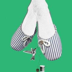 Stasia French Grey Slippers- Artwork
