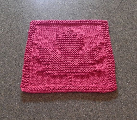 Knit Dishcloth MAPLE LEAF. Hand Knitted Unique by AuntSusansCloset, $4.50 Item for sale