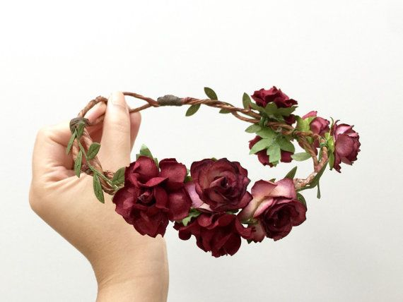 Autumn rose flower crown headband/ purple burgundy by AbbeysBlooms