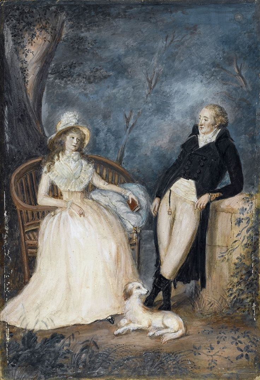 Goethe and Charlotte von Stein in conversation; late 18th century watercolour