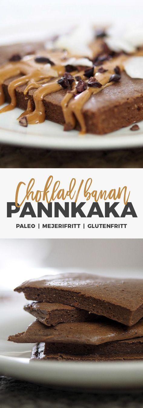 recept: Bananpannkaka i ugn med choklad och jordnötssmör. Glutenfritt och mejerifritt.