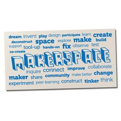 Makerspace Word Wall  This Word Wall vinyl lettering will be an excellent visual addition to your library. This word wall is supplied as individual words and can be applied as per the example design to create a 1200mm x 600mm word wall (Application instructions included).