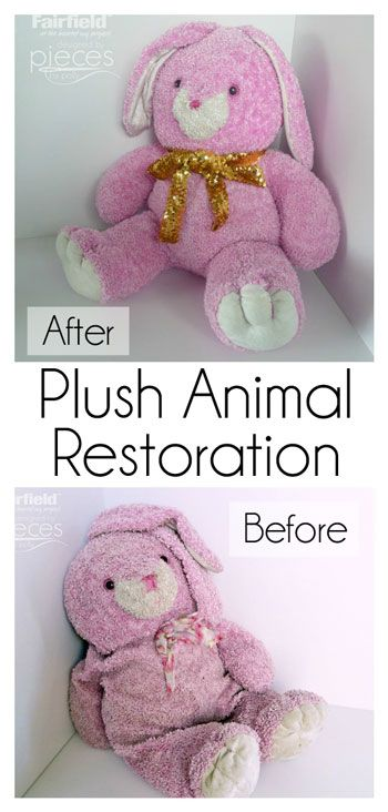 Plush Animals may need to be washed for many reasons…life happens when kids are about…and eventually a well-loved plush animal will become grimy and flat.   Large plushies can be especially problematic because they are usually too large to dry well after a thorough washing.  So, if you have a large stuffed animal that is too precious to toss, follow these Plush Animal Restoration instructions and love them for many years to come.