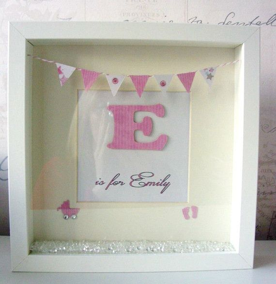 Scrabble letters in shadow box frame Grandkids names fabric
