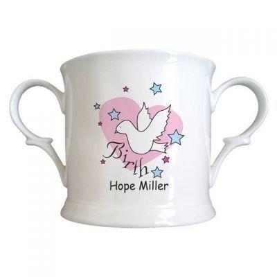Dove & Hearts Pink Birth Bone China Loving Cup. £12.99 #NewBaby #BabyGirl #Newborn #PersonalisedCup #PersonalisedGifts #PersonalisedBabyGifts