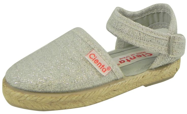 Cienta Girl's 40013.26 Silver Espadrilles 31 M EU/13 M US Little Kid. Made in Spain. This shoe is machine washable. Made in Green.