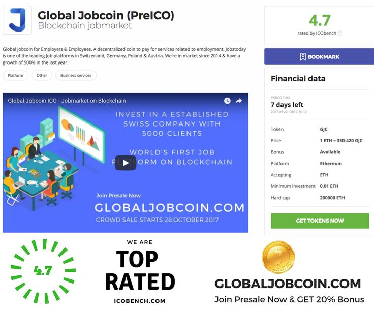 Global Jobcoin ICO top rated by ICOBench.com