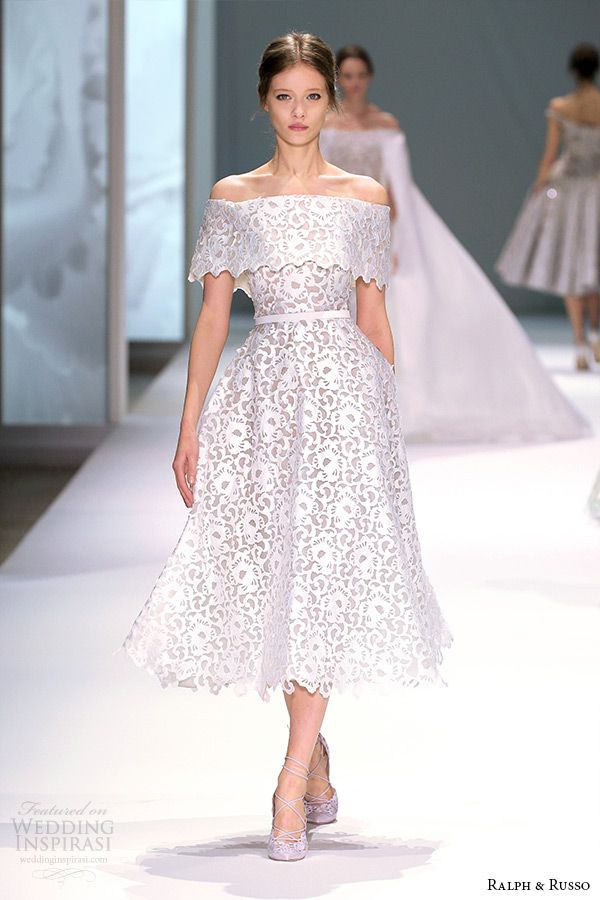 ralph and russo spring 2015 couture collection off the shoulder short tea length white dress