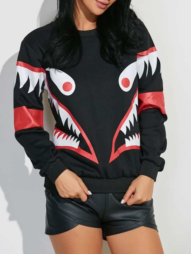 Shark Mouth Print Sweatshirt #CLICK! #clothing, #shoes, #jewelry, #women, #men, #hats, #watches