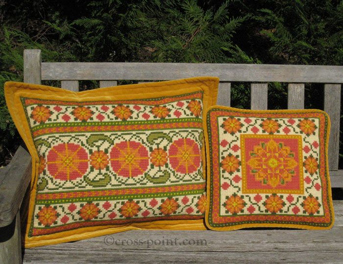 Moghul lumbar and small accent pillow in red, mustard, leaf green and cream (03) - Suzani kits for stitching in the cross-point TM collection