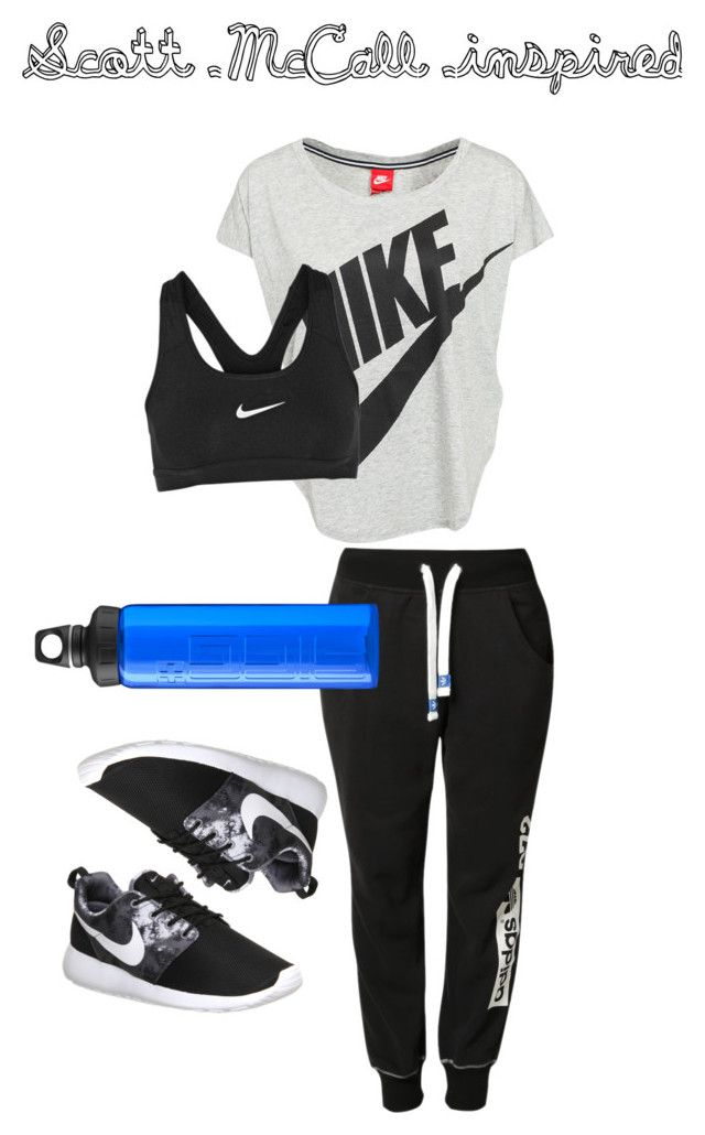 Teen Wolf- Scott McCall inspired workout outfit by teen-wolf-fan on Polyvore featuring NIKE, adidas Originals, SIGG, women's clothing, women's fashion, women, female, woman, misses and juniors