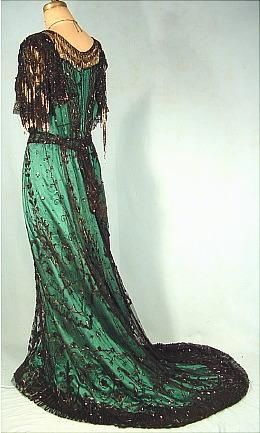 Antique Dress - c. 1907 MCGRATH, San Francisco Black Beaded Net / Silk Evening Gown #3359