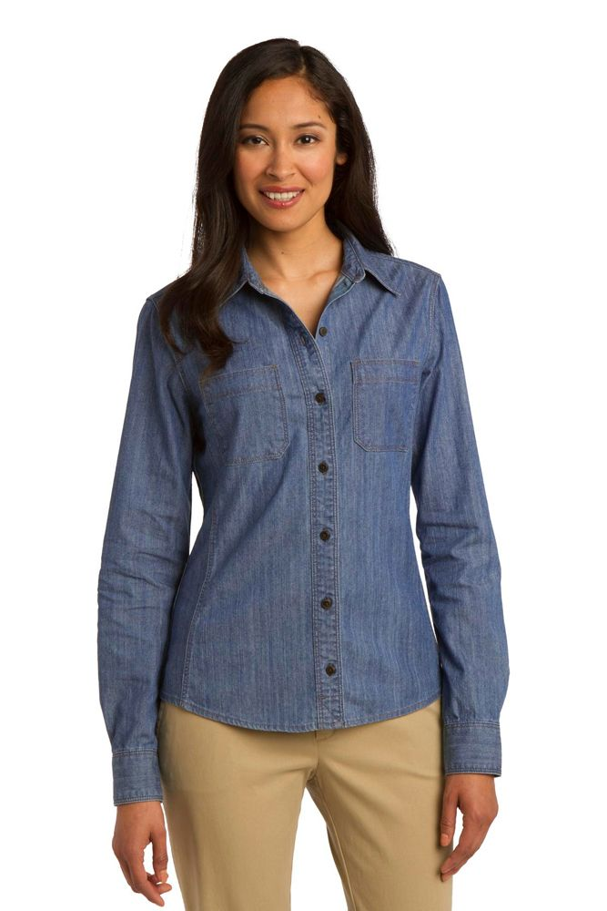 Ladies Denim Shirt, Pockets, contoured silhouette, 6.2-oz 100% cotton, adjustable cuffs, XS-Plus Size 4XL Free shipping, custom embroidery True to Size Apparel