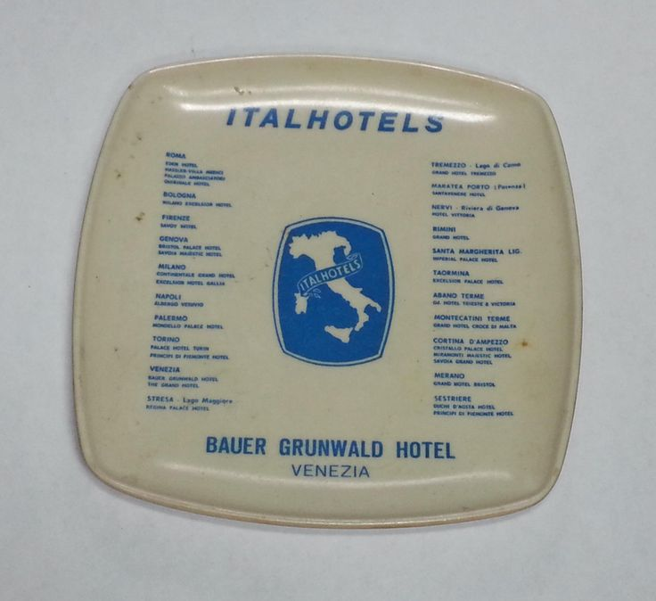 #collectible sale ITALHOTELS coin plate BAUER GRUNWALD HOTEL VENEZIA circa 1970's plastic withing our EBAY store at  http://stores.ebay.com/esquirestore
