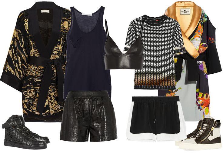 Ring style con top, shorts, sneakers e vestaglie in seta