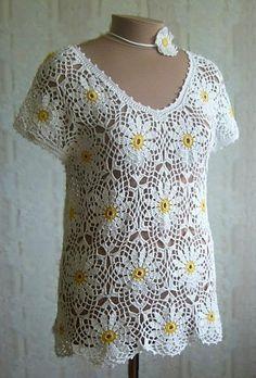 White Top with Round Flower Motifs free crochet graph pattern