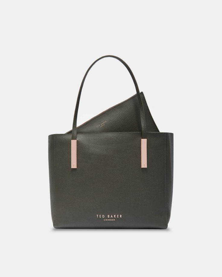 Statement letters leather shopper bag - Khaki | Bags | Ted Baker