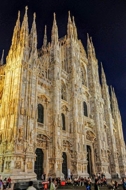 Milan Cathedral at Night - Milan Italy My husband And I heard ANGELS singing in the Duomo. REALLY....we were separated in the crowd, yet both of us taped the ANGELS singing. We later found out that the singing angels were  a congregation of nuns celebrating a renewal of faith. Oh, my spirit, I still rejoices at the memory.