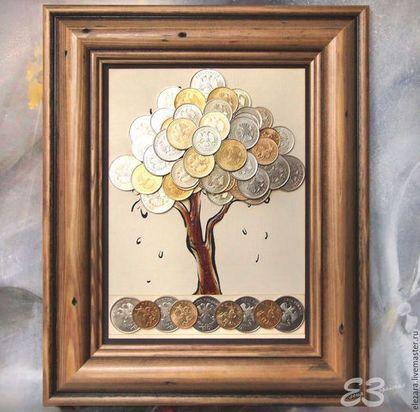 Символизм ручной работы. Ярмарка Мастеров - ручная работа. Купить Денежное дерево из монет в рамке (БОЛЬШОЕ). Handmade. Денежное дерево