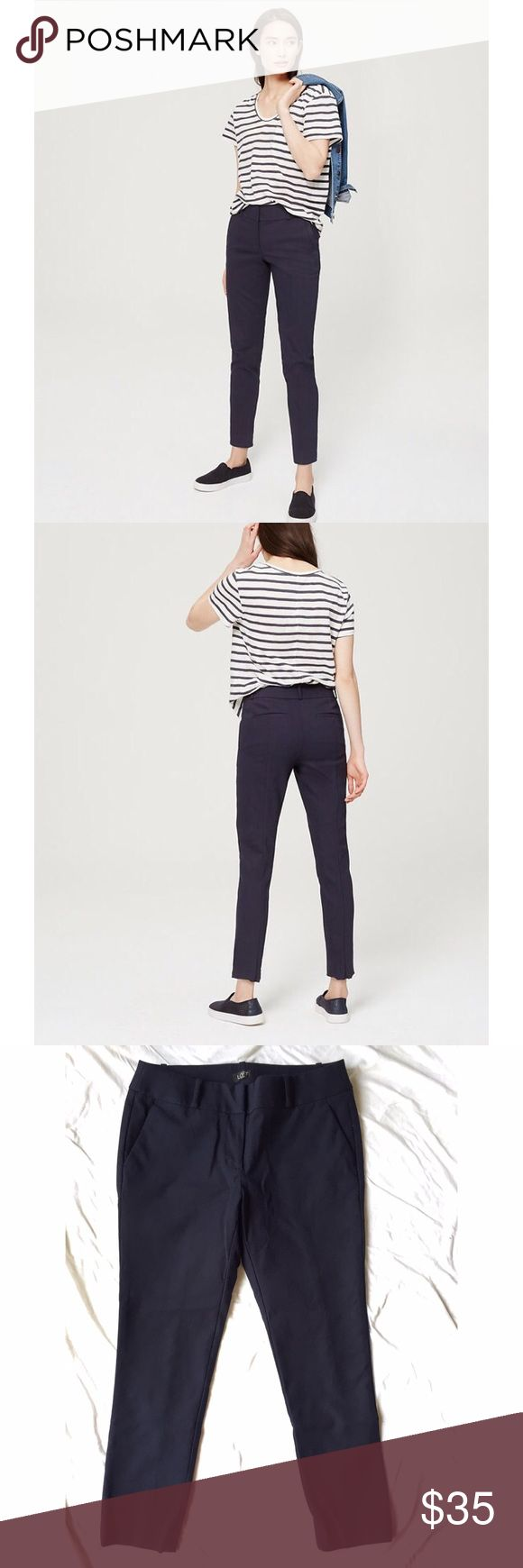 """Ann Taylor LOFT Petites - Skinny Ankle Pants Skinny ankle pant in navy blue. From website: """"our curvy fit - your perfect fit if your waist is small, but your hips are curvier."""" Petite: 26"""" inseam. Ann Taylor Pants"""