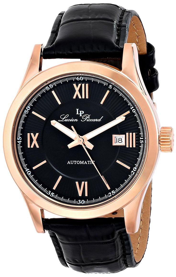 Lucien Piccard Men's LP-12392-RG-01 'Meuse' Stainless Steel Automatic Watch with Black Leather Band -- Details can be found by clicking on the image.