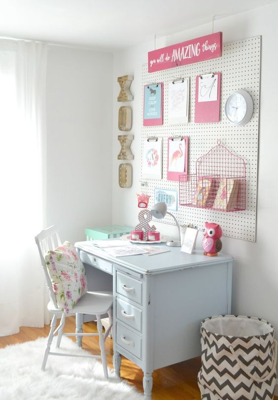 study zone with a pegboard for displays and timetable