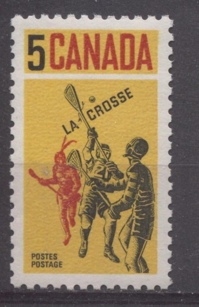 Lacrosse players shown on this striking 1968 issue.