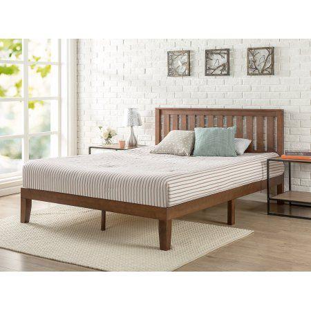 Zinus Queen 12 Inch Solid Wood Platform Bed with Headboard, Brown