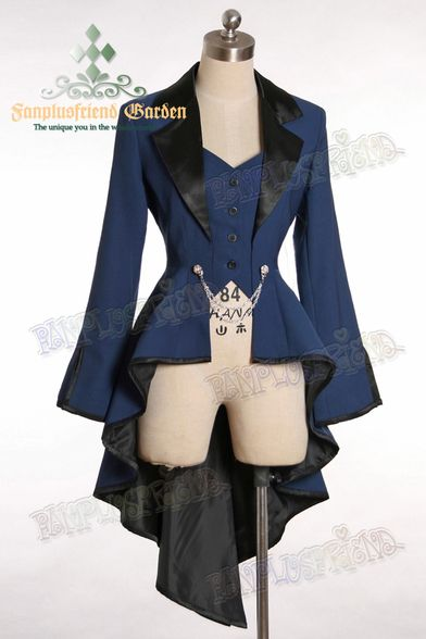 Fanplusfriend Elegant Gothic Aristocrat Irremovable Vest Ball Wavy Tuxedo Jacket