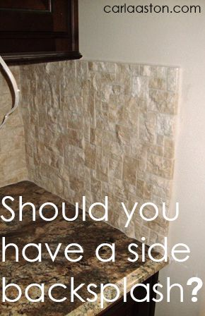i love this article explaining how awkward the side backsplash looks unless absolutely necessary.  Great design blog.