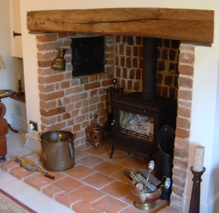 Wood Burner Placed In Existing Fire Place With Wooden Lintel And Exposed Brick Interior Inglenook Fireplacefireplace Ideasfireplace