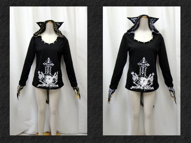 ゴシック ゴスパンク V系 猫耳 パーカー スカルプリント シッポ 爪グローブ カットソー 長袖 2色