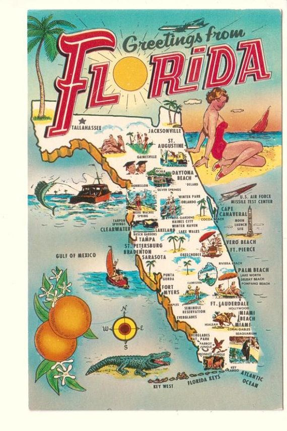 Greetings From Florida State Map Old Postcard by PostcardStore, $5.00
