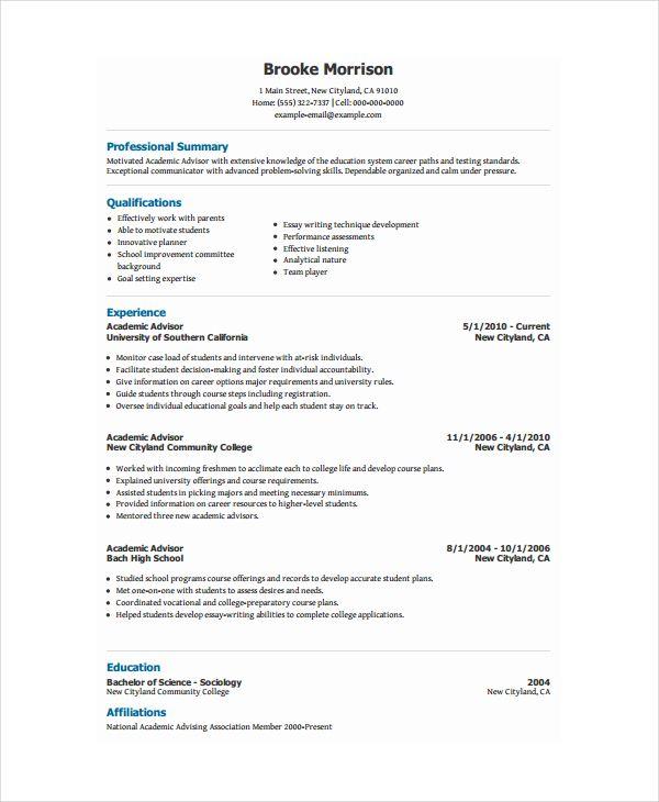 Resume Format Academic Academic Format Resume Resumeformat Academic Cv Cv Template Word Education Resume