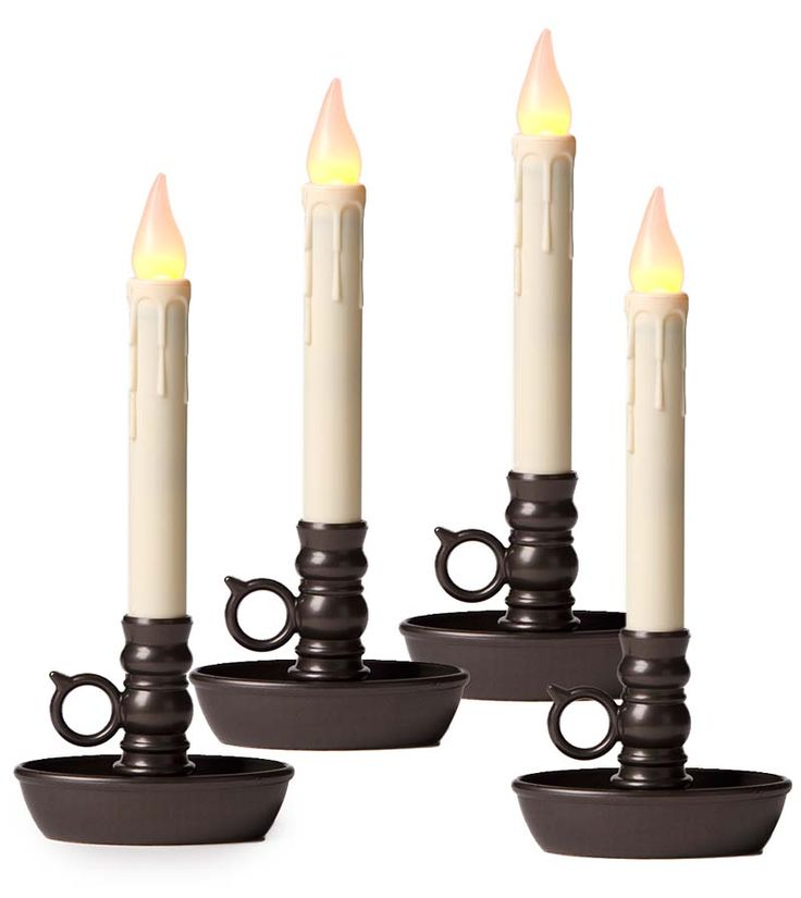 4-Pack Battery-Operated Single Window LED Window Candles...Available Candle Holder Colors  Antique Gold  Pewter Dark Bronze