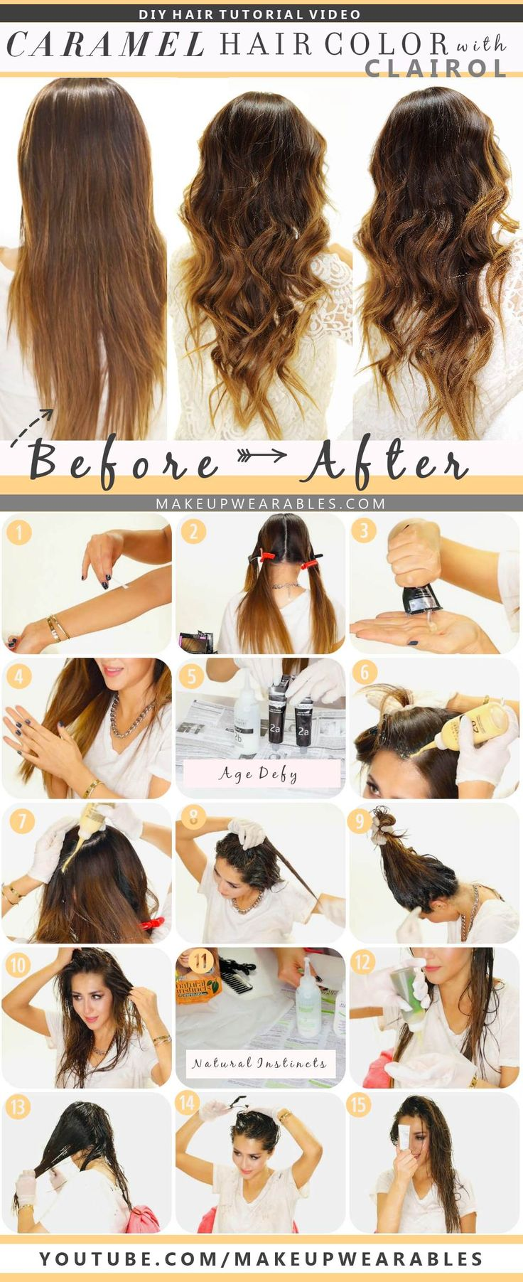 How to color your hair at home caramel brown ombre - hairstyle