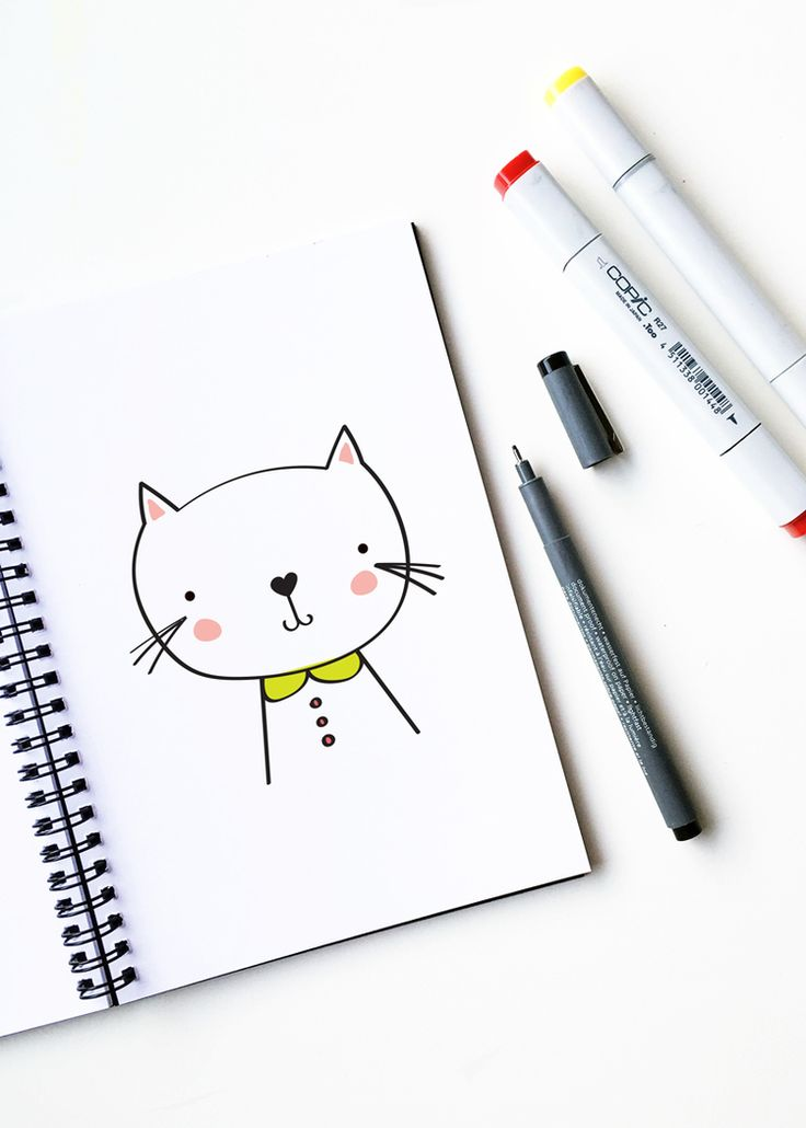 How to draw a cute cat | drawing, illustration, art, DIY | hellohappystudio.com