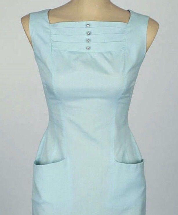 bb05ba72021 1950s Vintage Mint Green Wiggle Dress 50s XS Rhinestones