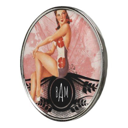 Monogram Golf Ball Marker | Retro Pin Up - home gifts ideas decor special unique custom individual customized individualized