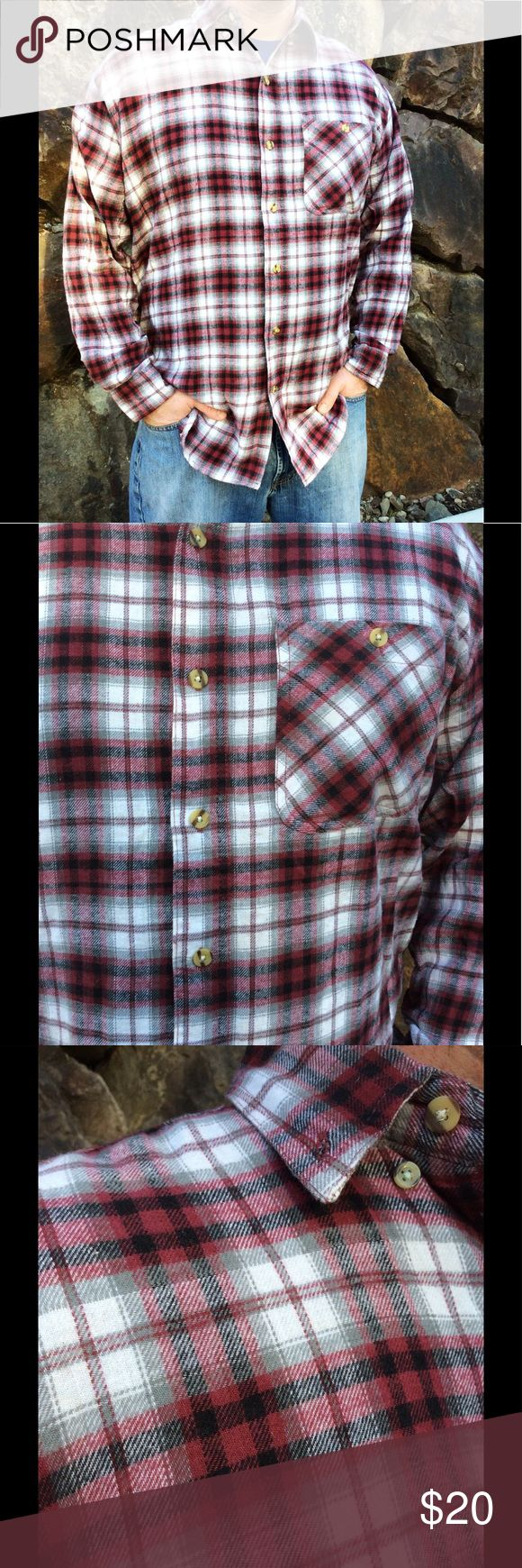 Mountain Man Flannel Button Up Shirt LOVE this Button Up. My husband is too warm blooded for a shirt like this. Never ever worn, brand new flannel button up. Red, black and white as primary colors. Shirts Casual Button Down Shirts