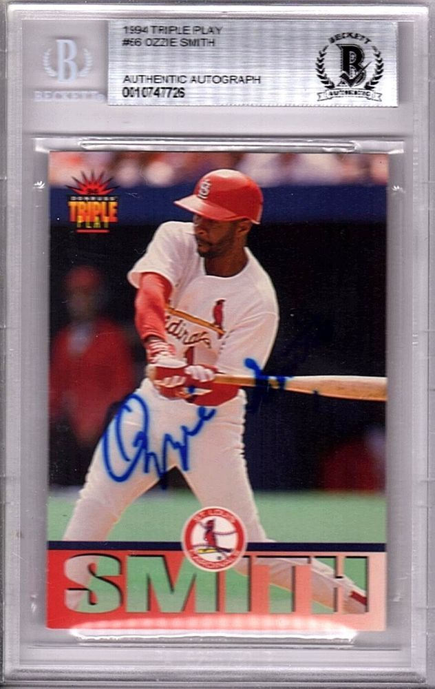 Ozzie Smith Signed 94 Triple Play Card St Louis Cardinals