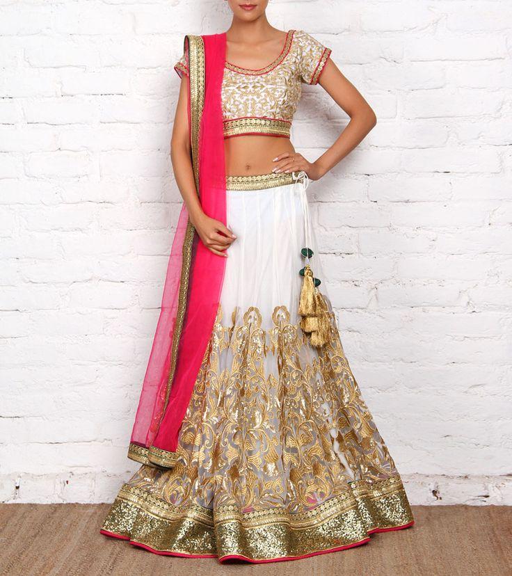 Off White and Magenta Net & Art Silk Lehenga Set | by Sanskriti. Indian wedding clothes