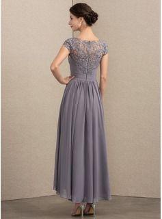4f2ee7c15d8 A-Line Princess Scoop Neck Asymmetrical Chiffon Lace Mother of the Bride  Dress