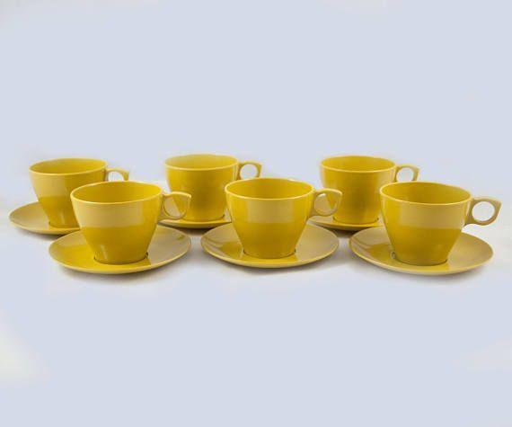 Ensemble de 6 tasses à café ou à thé melmac vintage en