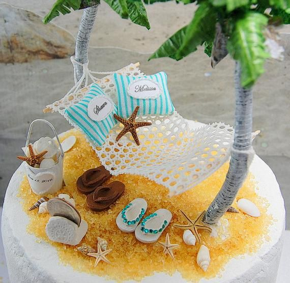 6 Artisan Beach Wedding Cake Topper Request Your Colors No Base
