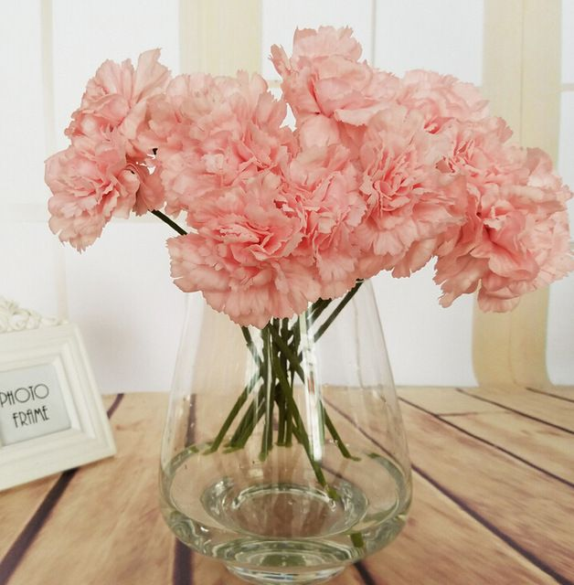 US 1520 Artificial Flowers Single Silk Flower Fake Carnation For Wedding Home Decoration