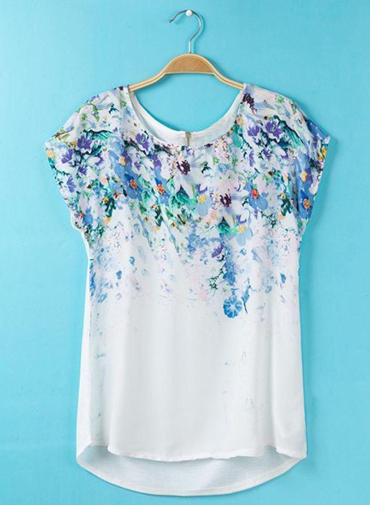 Women's Short Sleeve Back Zipper Floral Print Summer Tee from OASAP.com - Pretty. Looks very cool for summer.