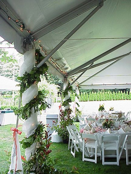 Outdoor Wedding Tent Pole Decorations