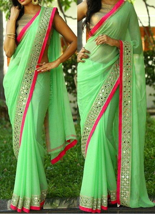New #Light_Green Georgette #Designer Party Wear #Saree